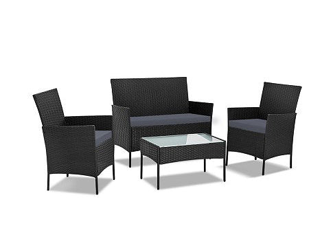 4-piece Rattan Outdoor Set - Black