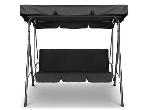 3 Seater Outdoor Canopy Swing Chair - Black