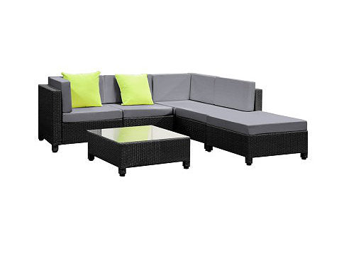 6 Piece Outdoor Wicker Sofa Set - Black
