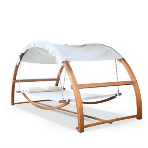 Double swing hammock bed with canopy