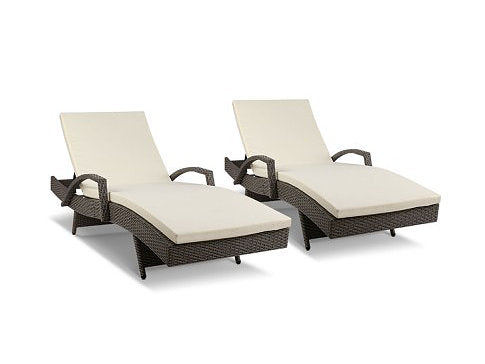X2 - Outdoor Sun Lounge Chair with Cushion- Grey