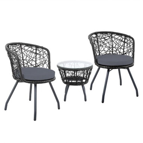Outdoor patio table and chair - Black