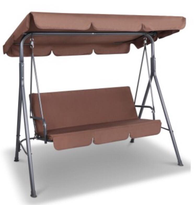 3 Seat Canopy Swing Chair - Coffee