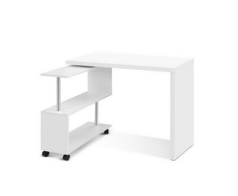 Corner Study Table Workstation Swivel Bookcase