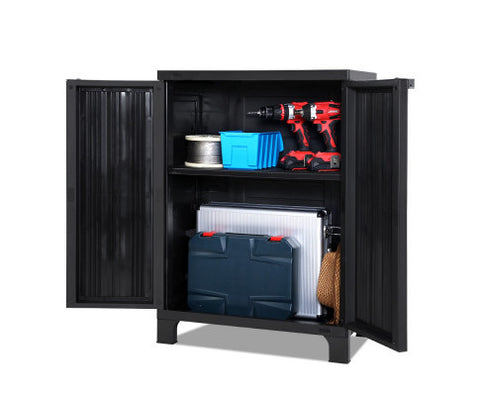 stylish looking outdoor storage cabinet