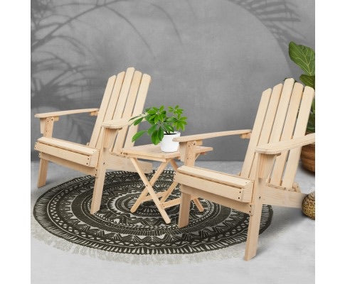 Hemlock wood Adirondack set - 3 piece