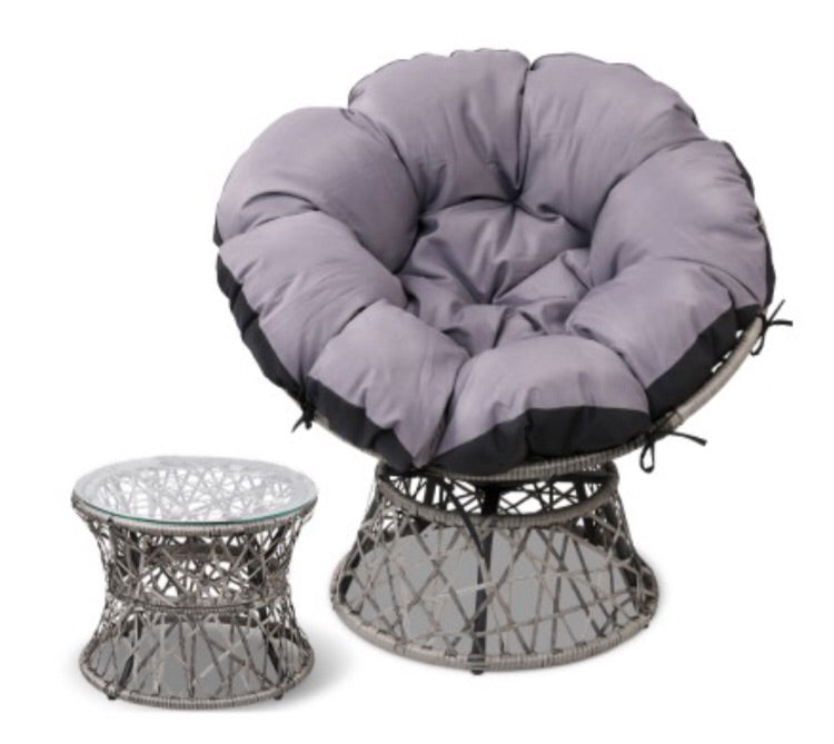 Comfort wicker Chair and Side Table - Grey