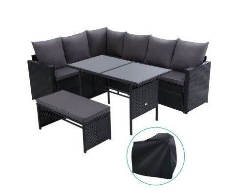 8 seater wicker sofa with cover - Black