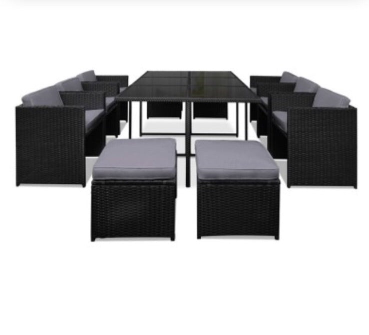 Outdoor Wicker Dining 11 Piece Stylish Outdoor
