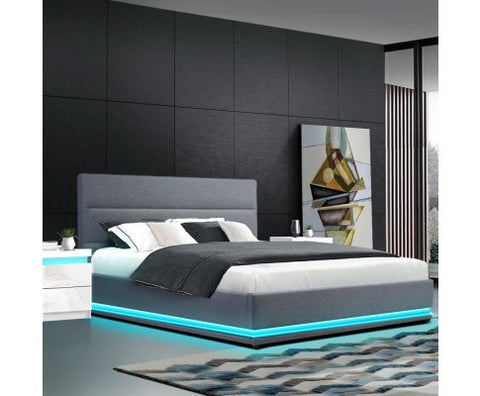 LED Gas Lift Bed New Style - Grey - Queen