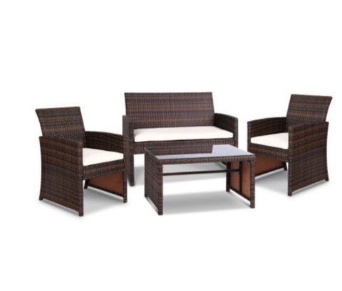 Outdoor Wicker Chairs & Table - Brown