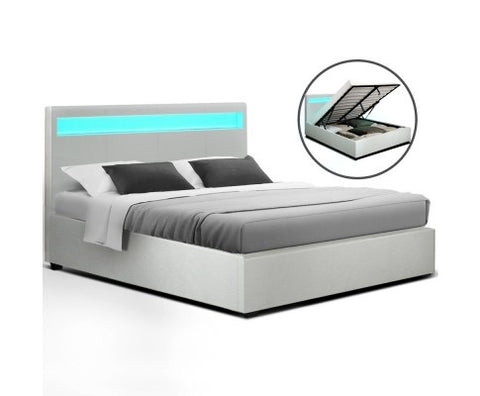 16 color LED gas lift bed - White