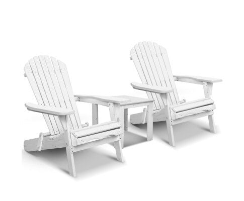 3 Piece Outdoor Adirondack - White