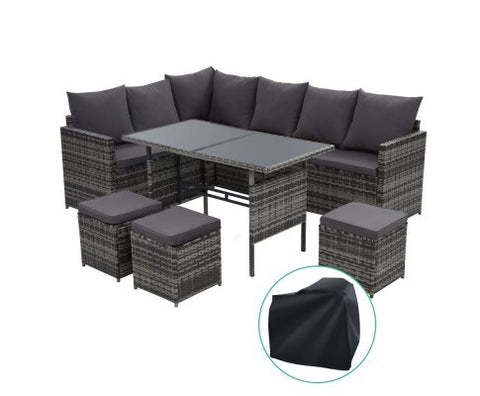 9 seater steel frame wicker with cover - Grey