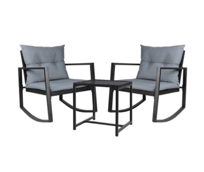 Outdoor rocking chair set - Black