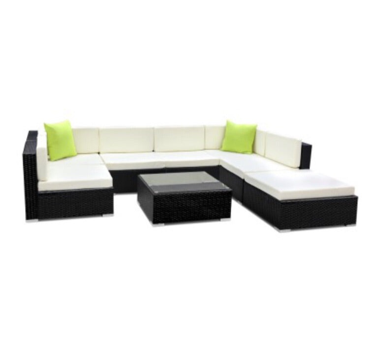 8 piece wicker sofa lounge