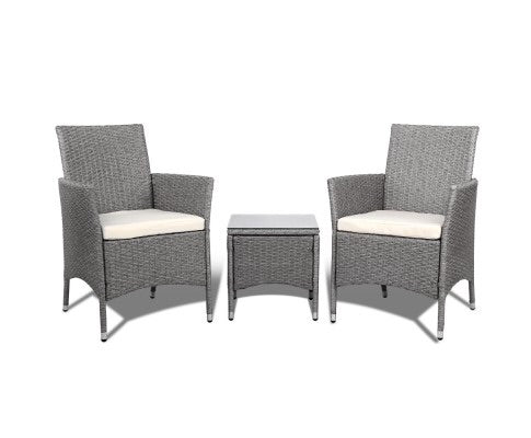 3pc Rattan Bistro Wicker - Grey