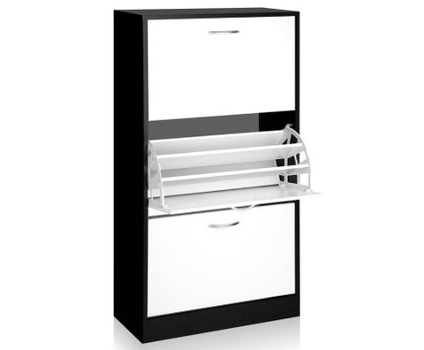 36 pairs Shoe Cabinet with Storage White & Black