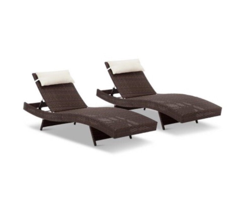 X2 - Outdoor Wicker Sun Lounge -  Brown
