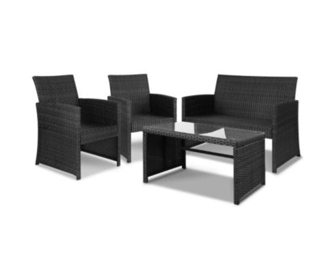 Outdoor Rattan Chairs & Table - Black