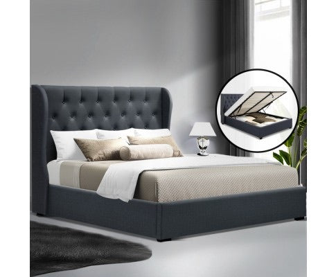 Nordic-inspired Gas Lift Bed With Storage - Queen - Charcoal