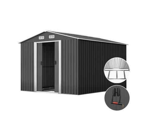 260cm x 389cm x 202cm Metal Shed - Grey