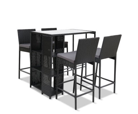 Weatherproof wicker bar set