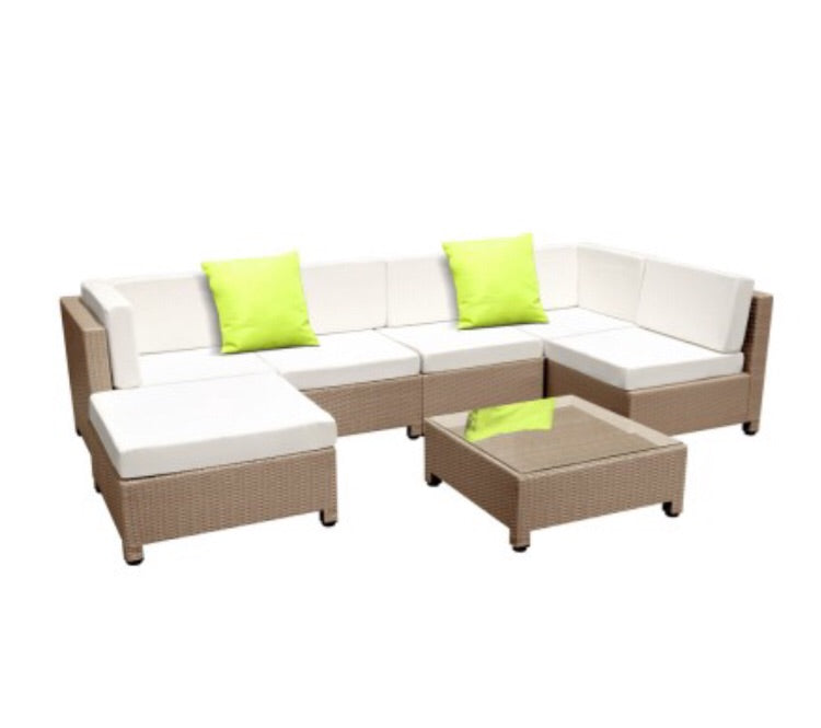 7 Piece PE Wicker Outdoor Furniture Set Brown