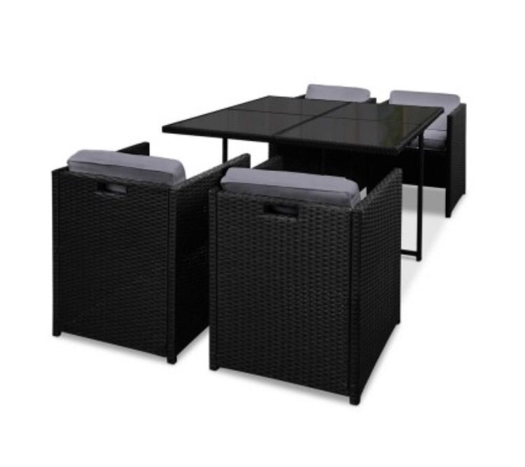 Wicker dining set - Black - 5 piece
