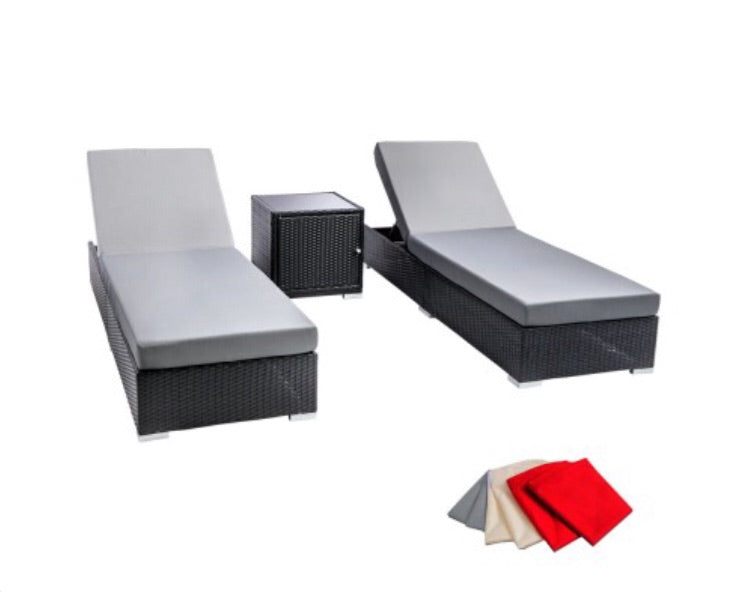 3 colors - 3 Piece Wicker Outdoor Lounge Set Black