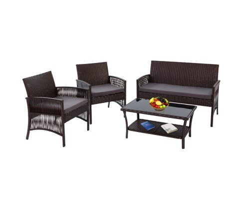 Outdoor wicker set - Brown