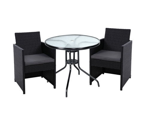 Patio wicker outdoor set - Black
