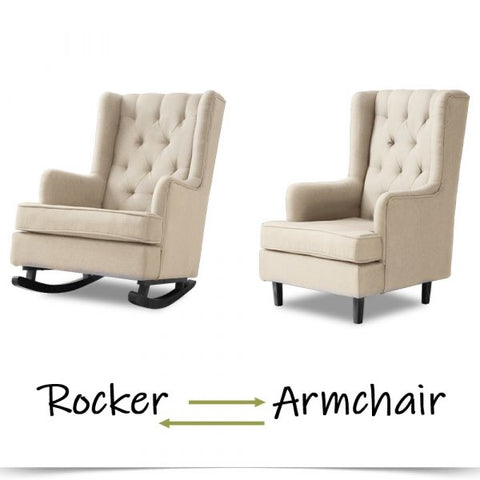 ROCKING CHAIR CHAIRS ARMCHAIR FABRIC LOUNGE RECLINER FEEDING ROCKER