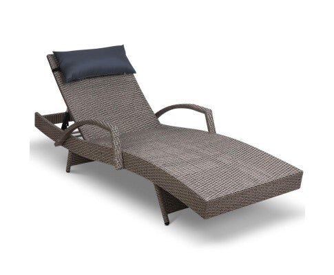Wicker sun lounge - Grey