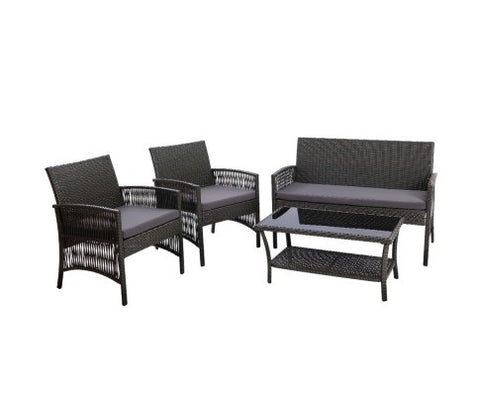 Wicker outdoor set  - Dark grey