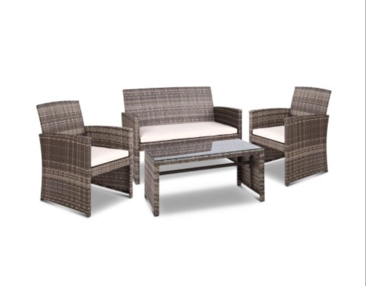 Outdoor Wicker Chairs & Table - Grey