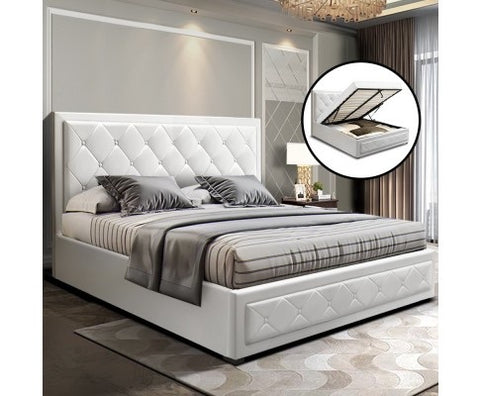 Leather Gas Lift Bed With Storage - Queen - White