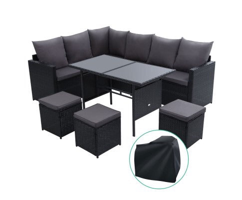 9 seater steel frame wicker set - Black