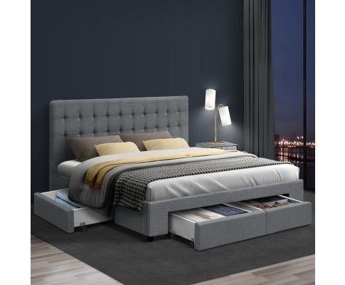 Fabric Bed With Drawers - Queen - Grey