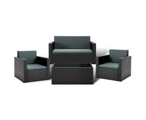 4 Piece Outdoor Wicker Furniture Set - Black