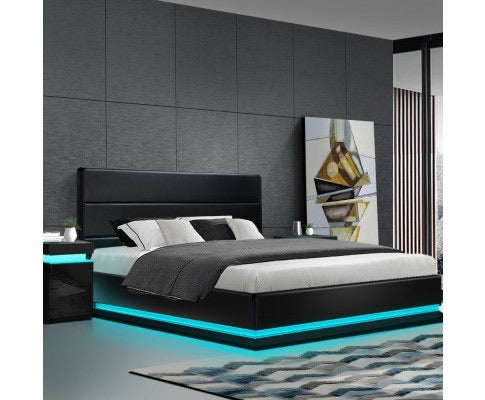LED Gas Lift Bed New Style - Black