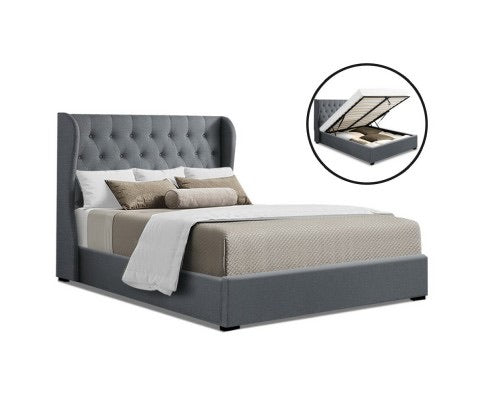 Nordic-inspired Gas Lift Bed With Storage - Queen - Grey