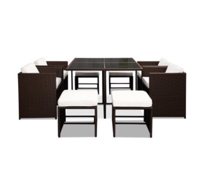 Wicker Outdoor Dining Set Brown & White - 9 piece