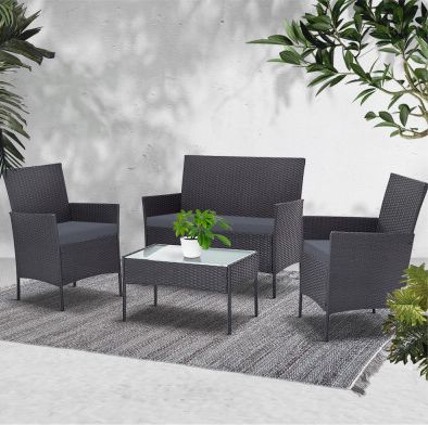 4 piece wicker - Dark Grey
