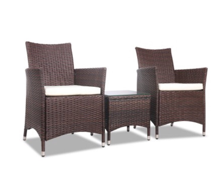 3 piece wicker bistro - Brown