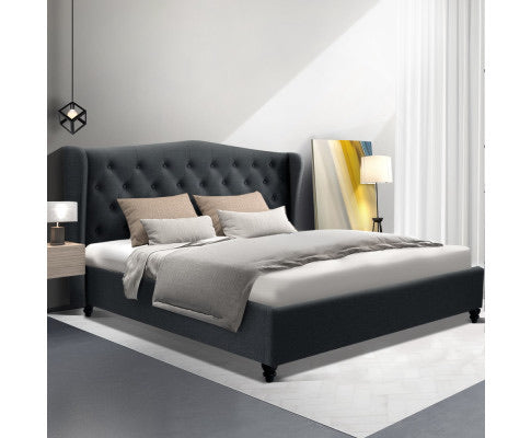 Fabric Bed Frame with Headboard - Charcoal