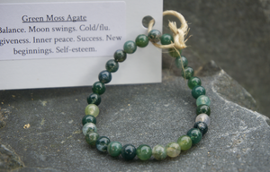 Intentional Healing Green Moss Agate Gemstone Bracelet