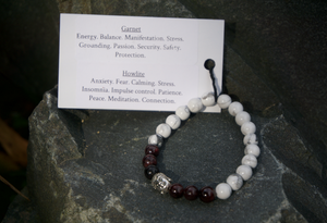 Intentional Healing Howlite and Garnet Gemstone Bracelet
