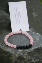 Load image into Gallery viewer, Intentional Healing Rose Quartz and Lava Stone Bracelet