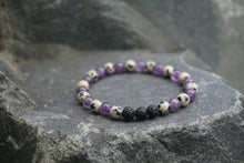 Load image into Gallery viewer, Intentional Healing Amethyst, Dalmatian Jasper, and Lava Stone Gemstone Bracelet